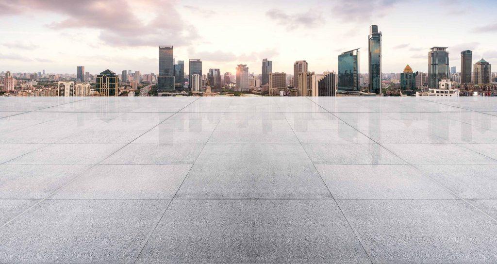 Empty floor with modern skyline